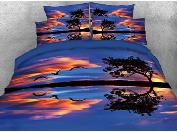 Onlwe 3D Calm Ocean Scenery and Reflection Printed 4-Piece Bedding Sets/Duvet Cover
