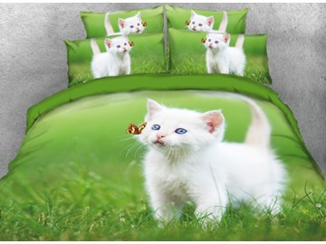 Onlwe 3D White Cat Playing with Butterfly Printed 4-Piece Bedding Sets/Duvet Cover