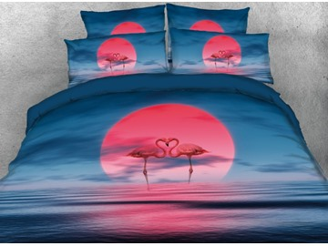 Onlwe 3D Sunrise and Flamingos Lovers Printed 4-Piece Bedding Sets/Duvet Cover