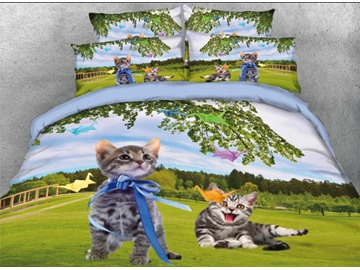 Onlwe 3D Cats and Paper Cranes Printed 4-Piece Bedding Sets/Duvet Cover