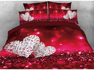Onlwe 3D Love Heart Shape Printed 4-Piece Bedding Sets/Duvet Cover
