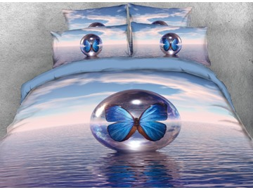 Vivilinen Ocean and Butterfly Crystal Ball Printed 4-Piece 3D Bedding Sets/Duvet Cover