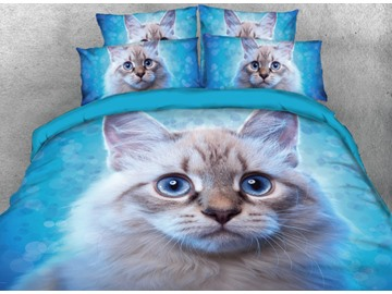 Elegant Cat Printed Blue 4-Piece 3D Bedding Sets/Duvet Cover