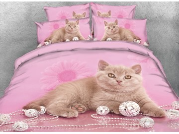 Onlwe 3D Cat and Sliver Ornaments Printed 4-Piece Bedding Sets/Duvet Cover