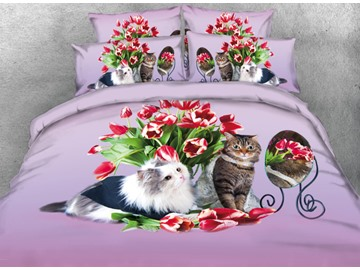 Onlwe 3D Cats and Red Tulips Printed 4-Piece Bedding Sets/Duvet Cover