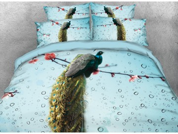 Onlwe 3D Peacock and Water Drops Printed 4-Piece Bedding Sets/Duvet Cover