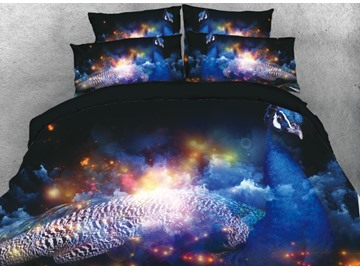 Onlwe 3D Elegant Peacock and Galaxy Space Printed 4-Piece Bedding Sets/Duvet Cover