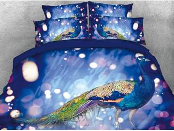 Onlwe 3D Elegant Peacock Under Flash Bulb Pattern 4-Piece Bedding Sets/Duvet Cover