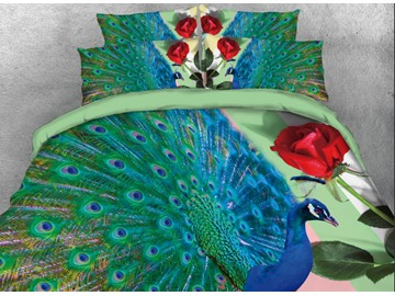 Onlwe 3D Elegant Peacock and Red Rose Printed 4-Piece Bedding Sets/Duvet Cover