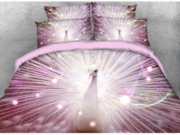 Onlwe 3D Shining White Peacock Printed Pink 4-Piece Bedding Sets/Duvet Cover