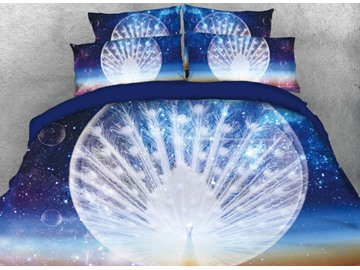 Onlwe 3D Galaxy and White Peacock Spreading His Tail Printed 4-Piece Bedding Sets