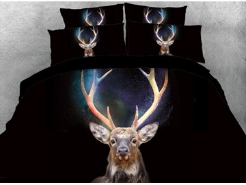 Vivilinen 3D Magical Wapiti Deer Printed Black 4-Piece Bedding Sets/Duvet Cover