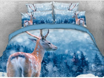 Onlwe 3D Sika Deer and Snow Forest Printed 4-Piece Bedding Sets/Duvet Cover
