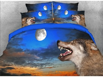 Onlwe 3D Wolf with Opening mouth under Moonlight Printed 4-Piece Bedding Sets/Duvet Covers