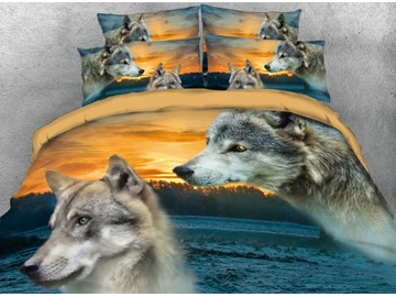 Onlwe 3D Two Wolves beside the River Printed 4-Piece Bedding Sets/Duvet Covers