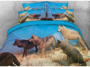 Onlwe 3D Group Wolves Playing in the Snow Printed 4-Piece Bedding Sets/Duvet Covers