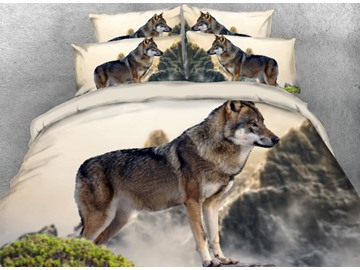 Onlwe 3D Wolf among the Hills Printed 4-Piece Bedding Sets/Duvet Covers