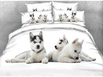 Vivilinen 3D Baby Wolves Together Printed 4-Piece White Bedding Sets/Duvet Covers