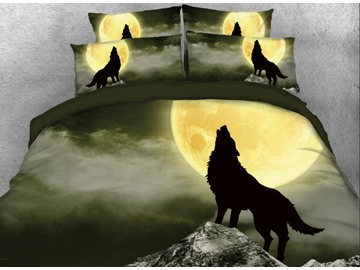 Onlwe 3D Wolf Howl under Moonlight Printed 4-Piece Bedding Sets/Duvet Covers