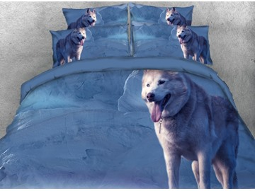 Onlwe 3D Wolf with outside Tongue Printed 4-Piece Blue Bedding Sets/Duvet Covers