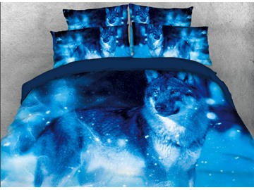 Onlwe 3D Lonely Wolf with Snow Printed 4-Piece Blue Bedding Sets/Duvet Covers