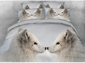Two White Wolves Kissing Printed 4-Piece 3D Bedding Sets/Duvet Covers