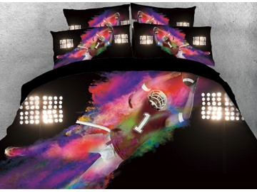 Onlwe 3D Fighting Rugby Football Player Printed 4-Piece Bedding Sets/Duvet Cover