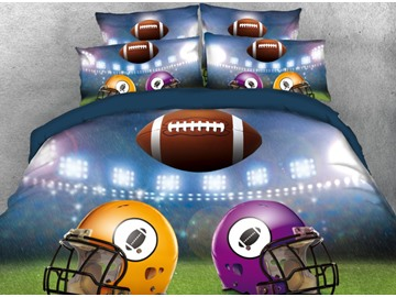 Onlwe 3D Rugby Football Match Between Yellow Purple 4-Piece Bedding Sets/Duvet Cover