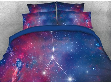 Onlwe 3D Galaxy Cancer Printed 4-Piece Bedding Sets/Duvet Covers