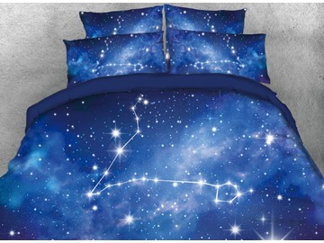 Onlwe 3D Galaxy Pisces Printed 4-Piece Bedding Sets/Duvet Covers