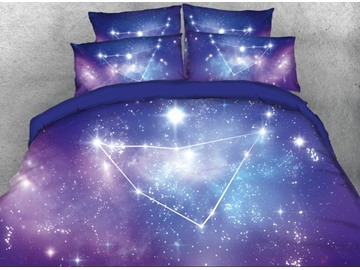 Onlwe 3D Galaxy Capricornus Printed 4-Piece Bedding Sets/Duvet Covers