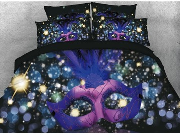 Onlwe 3D Purple and Blue Mask with Halo Printed 4-Piece Bedding Sets/Duvet Covers