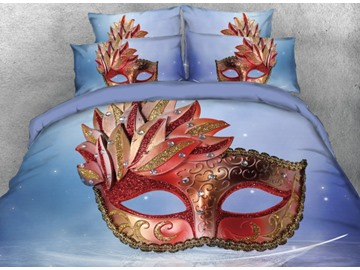 Onlwe 3D Gorgeous Mask with Diamonds Printed 4-Piece Blue Bedding Sets/Duvet Covers