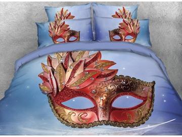 Vivilinen 3D Gorgeous Mask with Diamonds Printed 4-Piece Blue Bedding Sets/Duvet Covers
