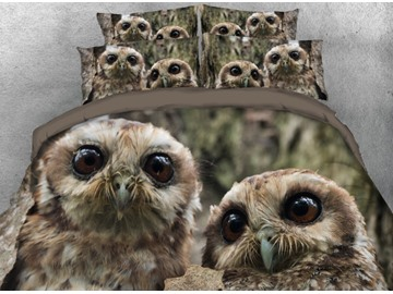 Vivilinen Pair of Owls Printed 4-Piece 3D Bedding Sets/Duvet Cover