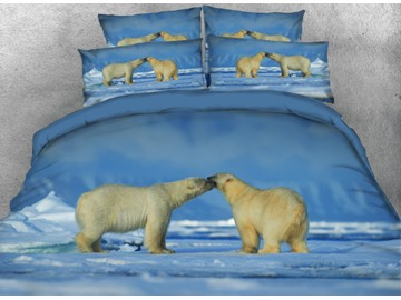 Vivilinen 3D Couple White Polar Bear Printed 4-Piece Bedding Sets/Duvet Cover