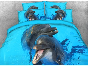 Onlwe 3D Cute Black Dolphins Printed 4-Piece Bedding Sets/Duvet Cover