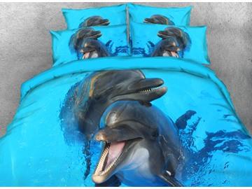 Cute Black Dolphins Printed 3D 4-Piece Bedding Sets/Duvet Cover