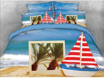 Vivilinen 3D Coconut Trees and Sailboat Printed 4-Piece Bedding Sets/Duvet Cover