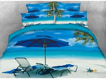 Onlwe 3D Seaside Holiday and Coconut Tree Casual Printed 4-Piece Bedding Sets/Duvet Cover
