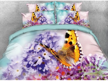 Vivilinen 3D Butterfly and Primula Denticulata Flowers Printed 4-Piece Bedding Sets/Duvet Cover
