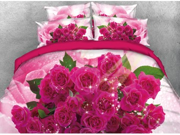 Onlwe 3D Romantic Bouquet of Red Roses Printed 4-Piece Bedding Sets/Duvet Cover
