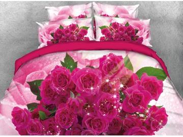 Vivilinen 3D Romantic Bouquet of Red Roses Printed 4-Piece Bedding Sets/Duvet Cover