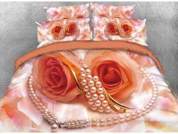 Vivilinen 3D Orange Roses and Pearl Necklace Printed 4-Piece Bedding Sets/Duvet Cover