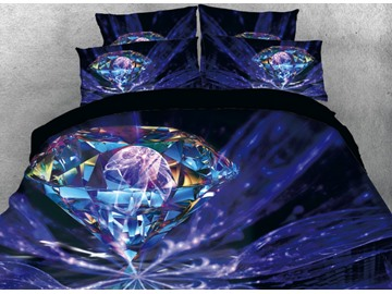 Onlwe 3D Glaring Diamond Printed 4-Piece Bedding Sets/Duvet Cover