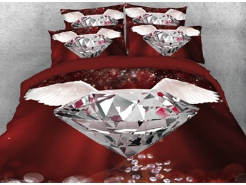 Vivilinen Diamond with White Wings Printed 4-Piece 3D Bedding Sets/Duvet Cover