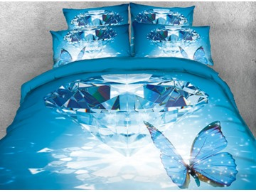 Vivilinen 3D Diamond and Butterfly Printed Blue 4-Piece Bedding Sets/Duvet Cover
