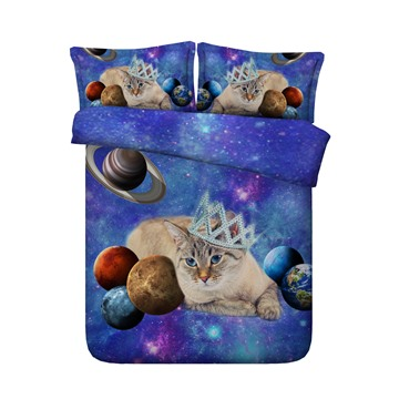 3D Galaxy Cat with Crown Printed 4-Piece Blue Bedding Sets/Duvet Covers