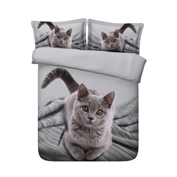 3D Cute Grey Kitty Cat Printed 4-Piece Bedding Sets/Duvet Covers