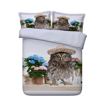 3D Adorable Owl with Hat and Flowers Printed 4-Piece Bedding Sets/Duvet Covers